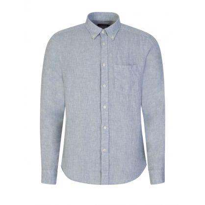 Blue Linen Melange Slim Fit Shirt