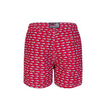 Red Surf Rider Swim Shorts