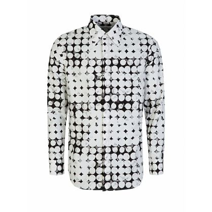 White Slim-Fit Pixel Polka-Dot Shirt