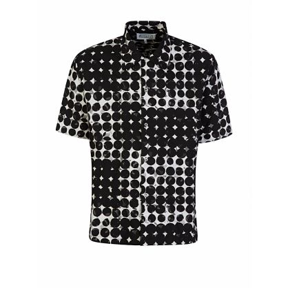 Black Short-Sleeve Pattern Shirt