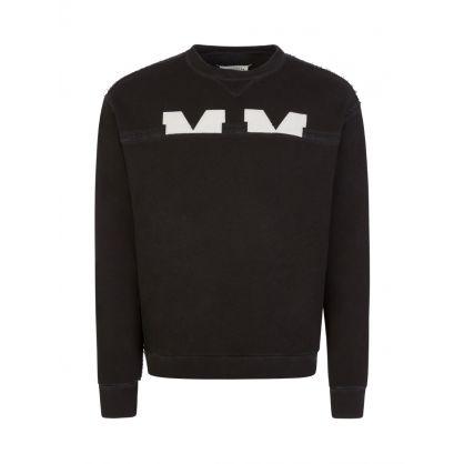 Black Resin Garment-Dyed Logo Sweatshirt