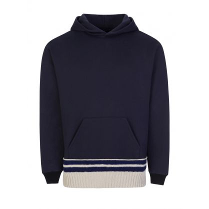 Navy Brushed Knit Trim Popover Hoodie