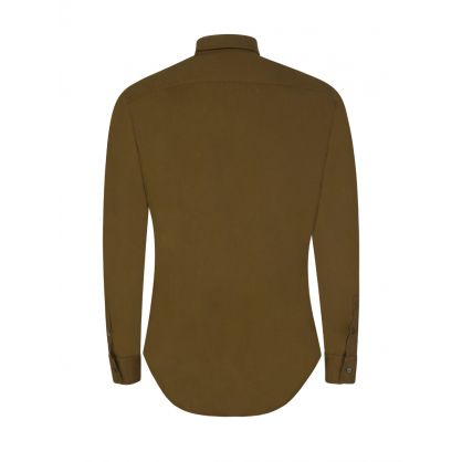 Brown Slim-Fit Garment-Dyed Shirt