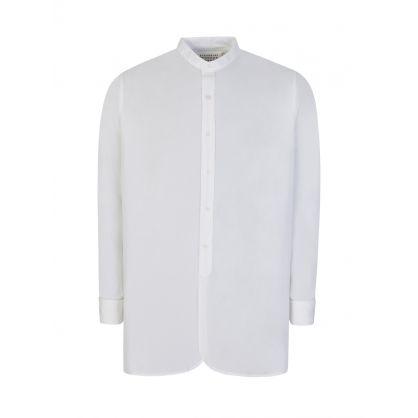 White Poplin Collarless Shirt