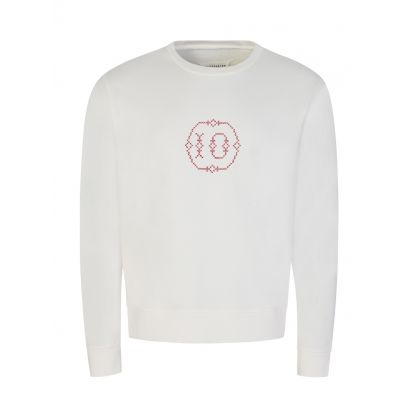 Cream Cross-Stitch Chest Logo Sweatshirt