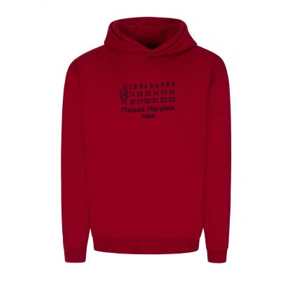 Red Oversized-Fit Numbers Logo Popover Hoodie