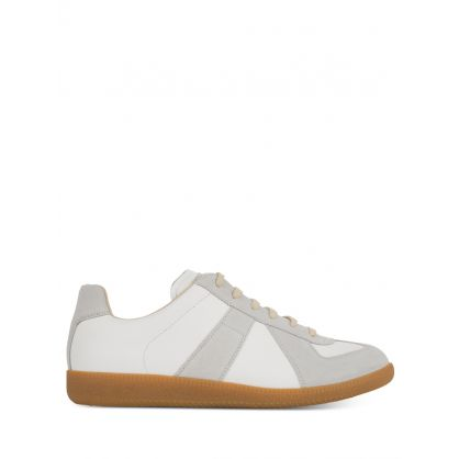 White/Grey Replica Gum Sole Trainers