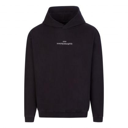 Black Upside-Down Logo Popover Hoodie