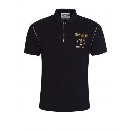 Black Milano Gold Logo Polo Shirt