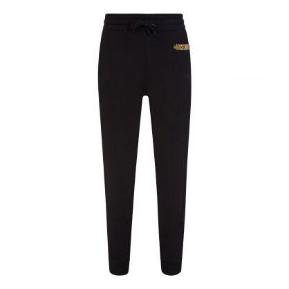 Black Gold-Plated Logo Sweatpants