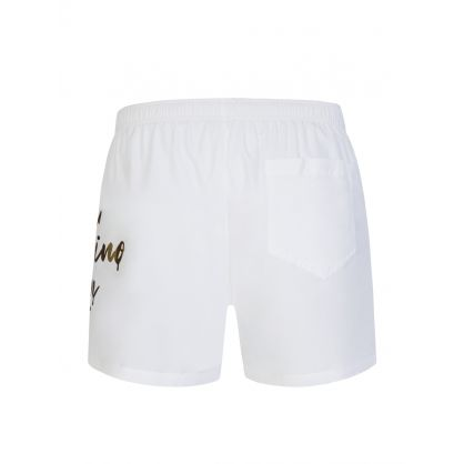 Swim White Logo Leg Swim Shorts