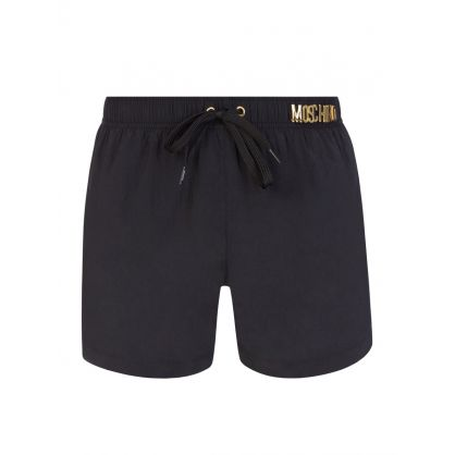 Swim Black/Gold Lettering Logo Swim Shorts