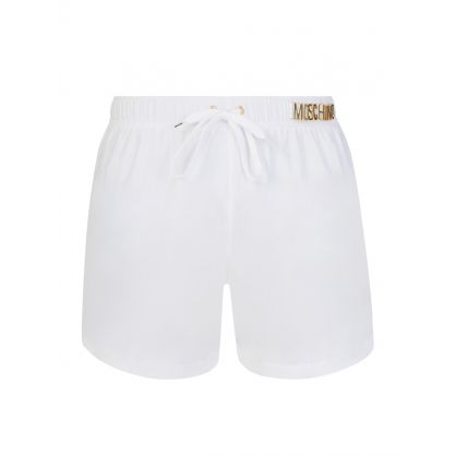 Swim White Lettering Logo Swim Shorts