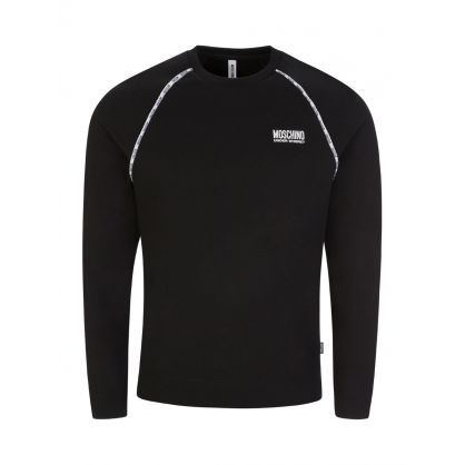 Black Slim-Fit Logo Tape Sweatshirt