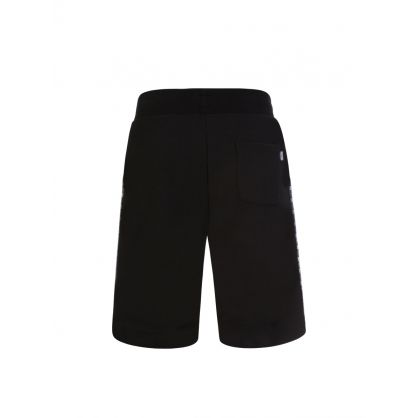 Black Slim-Fit Logo Tape Shorts