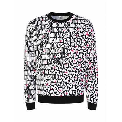 Black Loungewear Leopard-Print Sweatshirt
