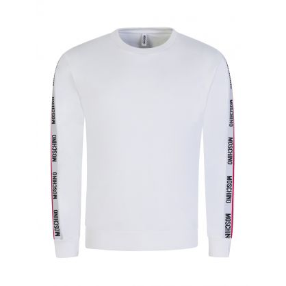White Logo Tape Shoulder Sweatshirt