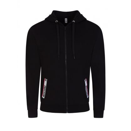 Black Logo Tape Hooded Zip-Through