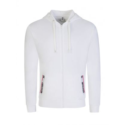 White Tape Logo Hooded Zip-Through