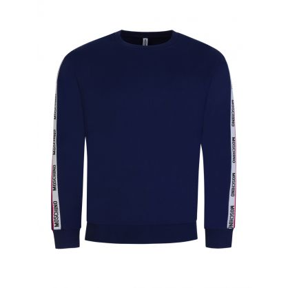 Navy Tape Logo Shoulders Sweatshirt