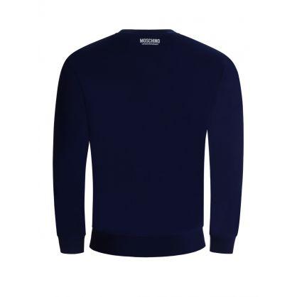 Navy Tape Logo Shoulders Sweatshirt