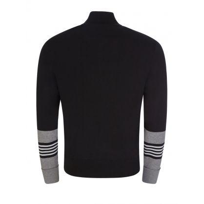 Black Stripe Cuff Cardigan