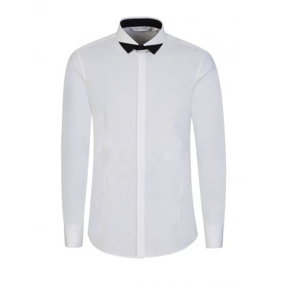 White Colourblock Tux Shirt