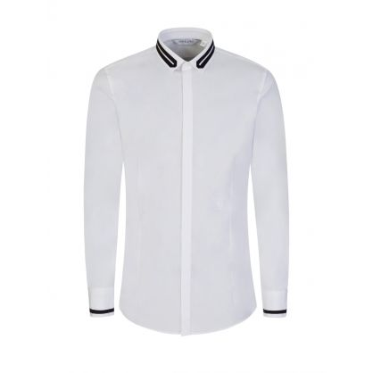 White Tuxedo Gros-Grain Tape Collar Shirt