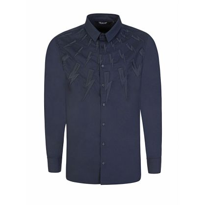 Navy Slim-Fit Embroidered Thunderbolts Shirt