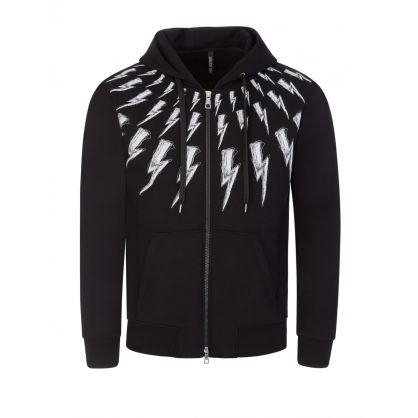 Black Scribble Fair-Isle Thunderbolt Hooded Zip-Through
