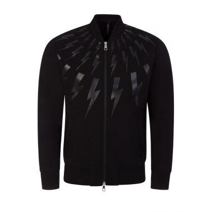 Black Thunderbolt Zip-Through Bomber Sweatshirt