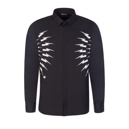 Black Waisted Fair-Isle Thunderbolt Shirt