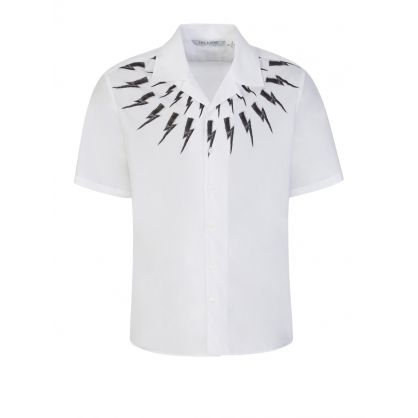White Fair-Isle Thunderbolt Hawaiian Shirt