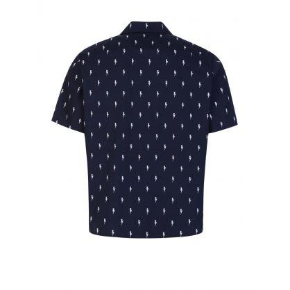 Dark Navy Thunderbolts-Print Hawaiian Shirt