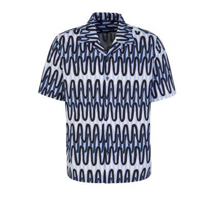Blue Scribble Hawaiian Shirt