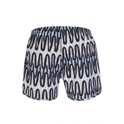 Blue Scribble Print Swim Shorts