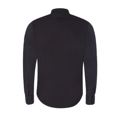 Black Starbolt Print Collar Shirt