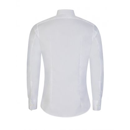 White Hybrid Multi-Fabric Tuxedo Shirt