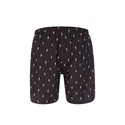Black Allover Thunderbolt Swim Shorts