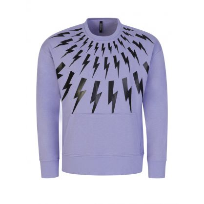Lilac Thunderbolt Print Sweatshirt