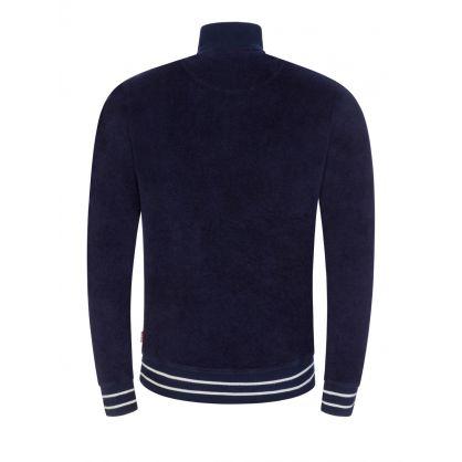 Navy Isar Towelling 1/2 Zip Sweatshirt