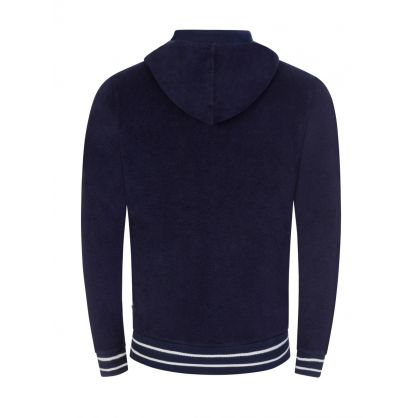 Navy Mathers Towelling Hooded Zip-Through