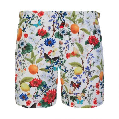 White Bulldog Botanical-Print Swim Shorts