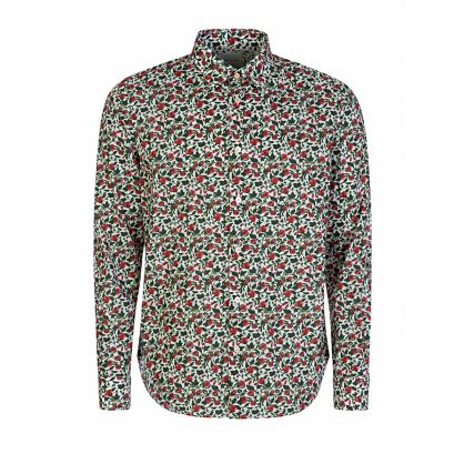 White Slim-Fit Floral Print Shirt