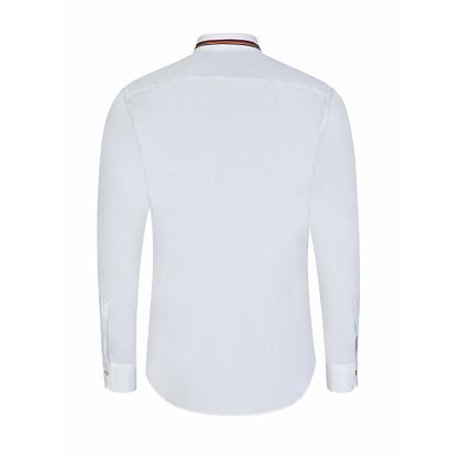 White Slim-Fit Stripe Collar Shirt