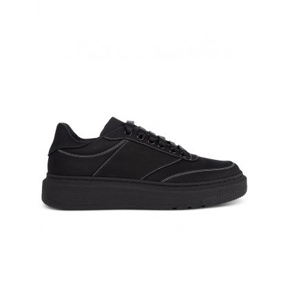 Black Leather Hackney Trainers