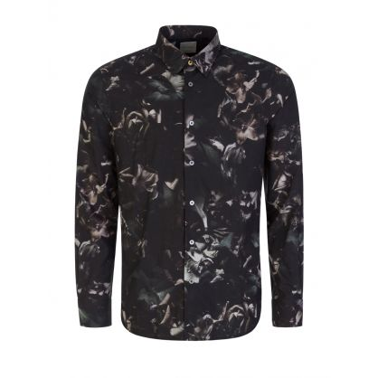 Grey Slim-Fit 'Floral Photo' Print Cotton-Silk Shirt