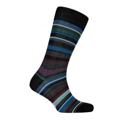 Black Multi Stripe Socks