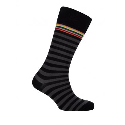 Signature Stripe Black Socks
