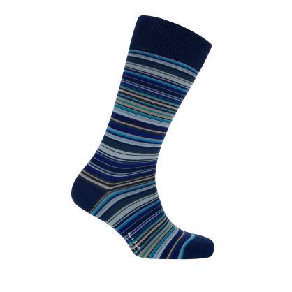 Navy Signature Multi Stripe Socks